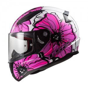 LS2 helm Poppies ff353 wit/roze